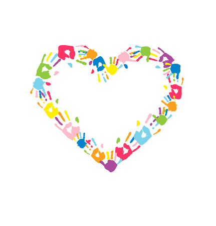 cheer: Heart made of the handprints of father, mother and children. Multicolor handprints on white background. Vector illustration
