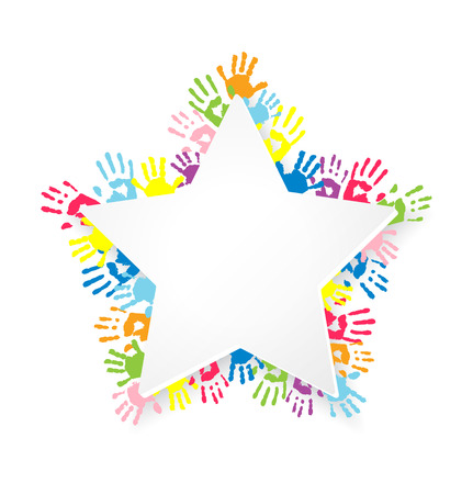 kids hand: White star shape sticker on background with multicolor handprints.