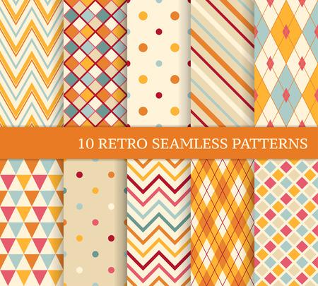 muster: 10 retro verschiedenen weichen nahtlosen Muster. Bunten geometrischen Hintergrund. Illustration