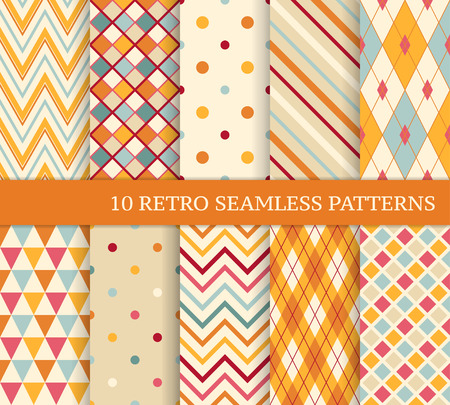 10 retro different soft seamless patterns. Colorful geometric background.