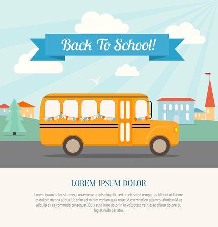 colegio: Autobús escolar con banderas festivas monta a la escuela. De nuevo al cartel de la escuela. Fondo de la vendimia. Ilustración vectorial Flat.