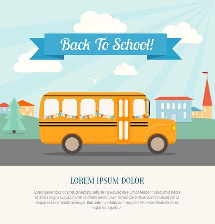 vector school: School bus with festive flags rides to school. Back to school poster. Vintage background. Flat vector illustration.