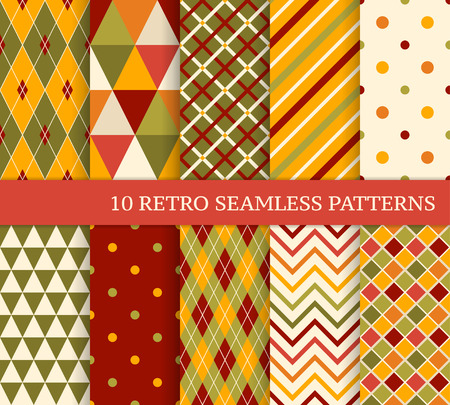 fashion illustration: 10 retro different bright seamless patterns. Colorful geometric background.