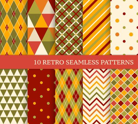 10 retro verschillende heldere naadloze patronen. Kleurrijke geometrische achtergrond.