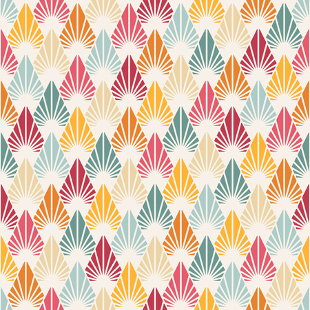 Vector seamless pattern with stylized leaves. Colorful geometric ornament. Floral stylish background. Иллюстрация