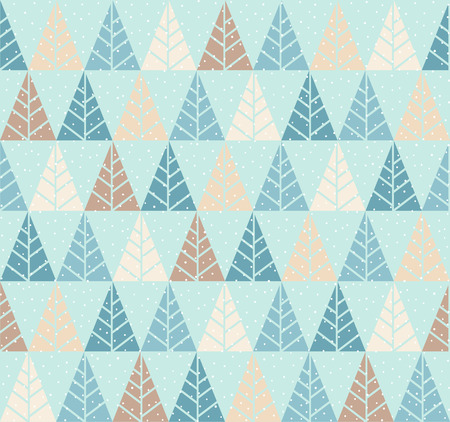 Vector seamless pattern with stylized tree and snowfall. Colorful geometric ornament. Winter background