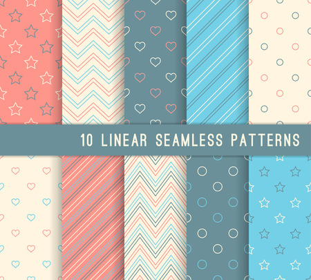 10 different linear seamless patterns. Stylish color retro backgrounds.
