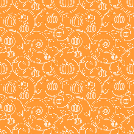autumn colors: Orange seamless pattern with pumpkin, leaves and swirls. Stylish linear seamless background