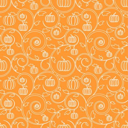 Orange seamless pattern with pumpkin, leaves and swirls. Stylish linear seamless background