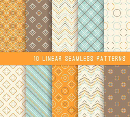 retro backgrounds: 10 different linear seamless patterns. Stylish color retro backgrounds.