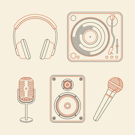dj turntable: Vector music concepts in linear style. Set of icons - microphones, speakers, turntable