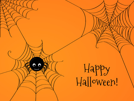 spider web: Cute spider and webs over orange background with Happy Halloween text