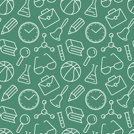 objects equipment: School seamless pattern. Collection of school objects and educational equipment on green background. Illustration