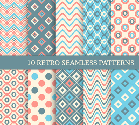 color backgrounds: 10 different retro seamless patterns. Set of stylish color backgrounds.