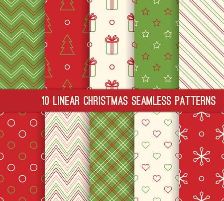 10 クリスマス異なる線形シームレス パターン。壁紙、web ページの背景、包装紙などの無限のテクスチャです。レトロなスタイル。