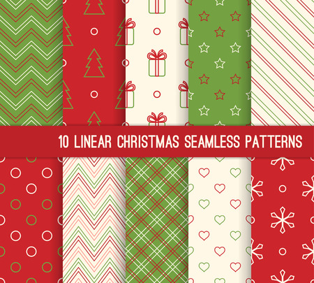 10 Christmas different linear seamless patterns. Endless texture for wallpaper, web page background, wrapping paper and etc. Retro style.
