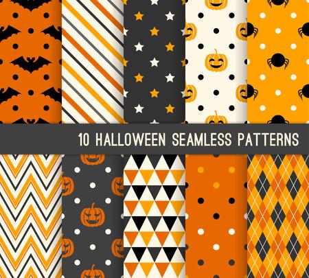 Tien Halloween verschillende naadloze patronen. Eindeloze textuur voor de achtergrond, webpagina achtergrond, inpakpapier en enz. Retro-stijl.
