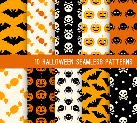 Diez de Halloween diferentes patrones sin fisuras. Textura sin fin para el papel pintado, fondo de páginas web, papel de regalo y etc calabaza, palo, cráneo, araña y dulces. Foto de archivo - 43903776
