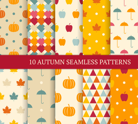 harvest: Ten autumn different seamless patterns. Endless texture for wallpaper, web page background, wrapping paper and etc. Retro style. Illustration