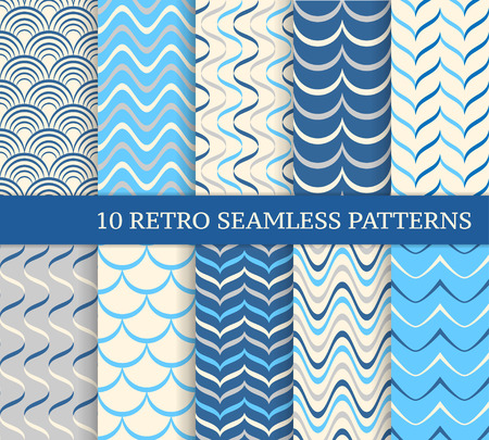 retro patterns: Ten different retro wavy seamless patterns. Endless texture for wallpaper, web page background, wrapping paper and etc. Retro style.