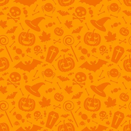 grafische muster: Halloween orange festliche nahtlose Muster. Endless Hintergrund mit K�rbisse, Totenk�pfe, Flederm�use, Spinnen und etc