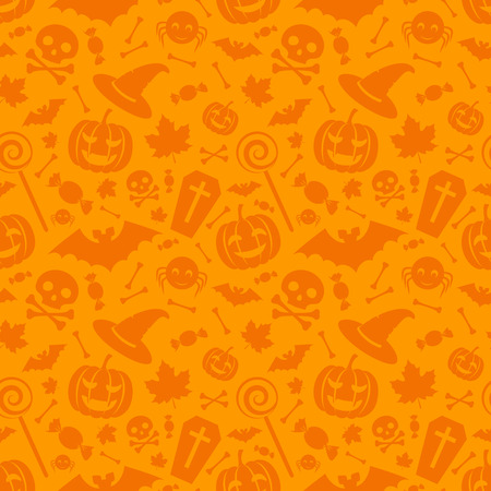 Halloween orange festive seamless pattern. Endless background with pumpkins, skulls, bats, spiders and etc