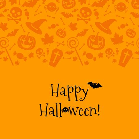 cartoon bat: Halloween card with spider, bat. Seamless top border.