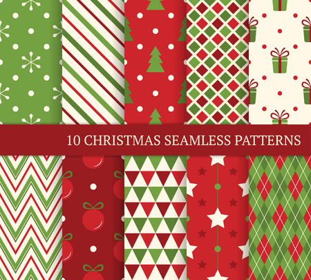 green and red: 10 Christmas different seamless patterns.  Illustration