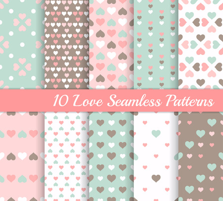 brown background: Ten different love seamless patterns with hearts. Valentines day or wedding backgrounds. Endless texture for wallpaper, web page background, wrapping paper and etc. Retro style.