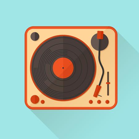 turntable: Orange vinyl turntable. Vector illustration. Flat style.