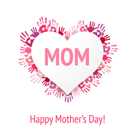 handprints: Happy Mothers Day greeting card or background. MOM on white heart applique over pink children handprints.