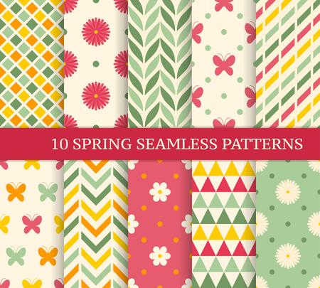 Dziesięć retro różnych wiosna bezszwowych wzorów. Niekończący się tekstura dla tapety, pełnia, strony internetowej tło, tekstura. Kolorowe tło geometryczne.