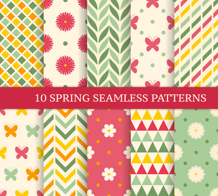 Ten retro different spring seamless patterns. Endless texture for wallpaper, fill, web page background, texture. Colorful geometric background. Illustration