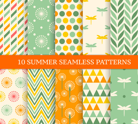 Ten retro different summer seamless patterns. Endless texture for wallpaper, fill, web page background, texture. Colorful geometric background.