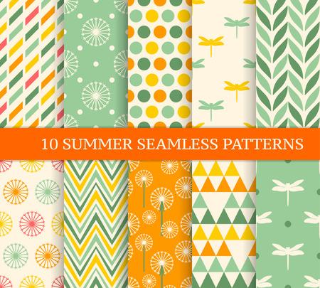 Dziesięć retro różnych letnich bezszwowych wzorów. Niekończący się tekstura dla tapety, pełnia, strony internetowej tło, tekstura. Kolorowe tło geometryczne.