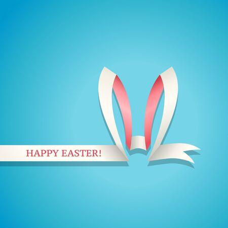azul turqueza: Orejas de conejo Pascua hechos de la cinta. Feliz Pascua de tarjeta, banner o fondo
