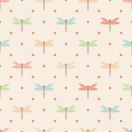 beige background: Retro seamless pattern. Color dragonflies and dots on beige textured background Illustration