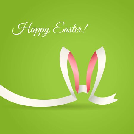 curved ribbon: Easter Bunny Ears made of curved ribbon. Creative Happy Easter greetings card, banner or background.