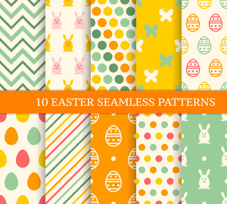 geometric lines: Ten retro different easter seamless patterns. Endless texture for wallpaper, fill, web page background, texture. Colorful cute background with easter bunny and ornate eggs.