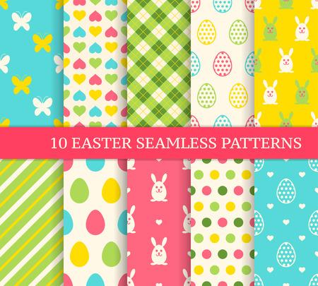 10 다른 부활절 원활한 패턴. 벽지, 채우기, 웹 페이지 배경, 질감에 대한 끝없는 질감. 부활절 토끼와 화려한 계란 다채로운 귀여운 배경입니다. 일러스트