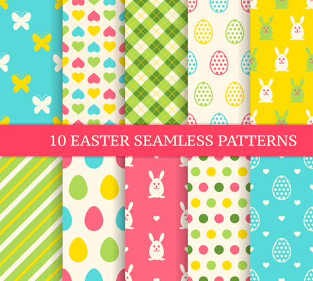backgrounds: Ten different easter seamless patterns. Endless texture for wallpaper, fill, web page background, texture. Colorful cute background with easter bunny and ornate eggs.