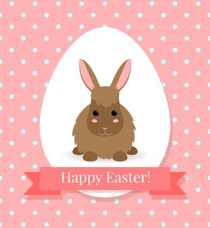 brown hare: Vector illustration  with cute little brown bunny. White egg with rabbit and ribbon on pink polka dot background. Flat style. Can use as Happy Easter greeting card or background.
