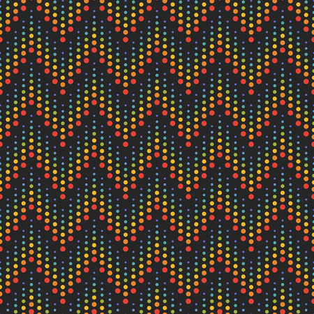 zigzag: Rainbow seamless zigzag pattern. Abstract background with color stripes made of dots. Vector background.