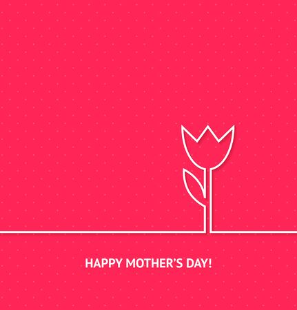 pink flower background: Vector Illustration for Happy Mothers Day. Outline tulip flower on pink background. Design element for your greeting card, website, banner. Illustration