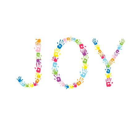 imprint: Word JOY made of  multicolor handprints.