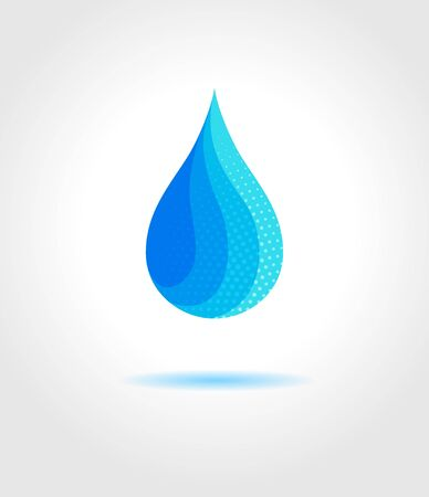 drop water: Abstract blue water drop on gray background. Vector creative concept Illustration