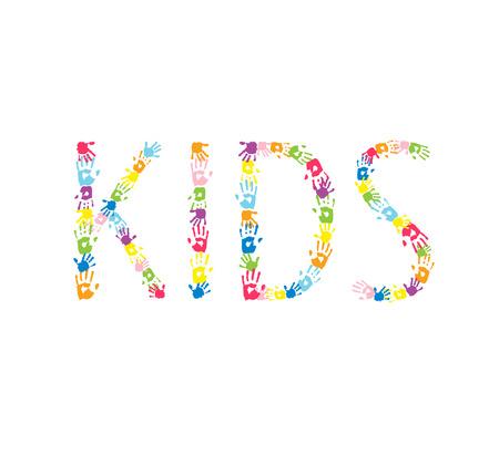 handprints: Word KIDS made of  multicolor handprints.