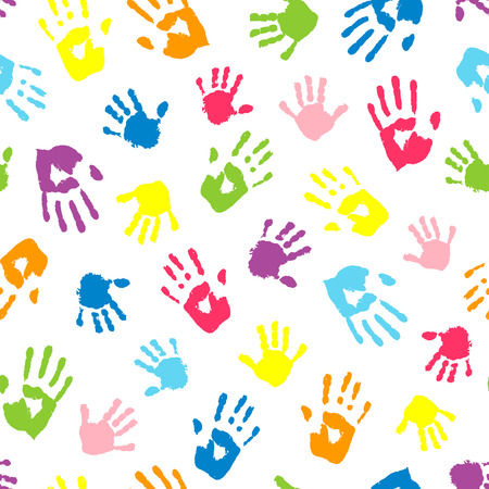 handprints: Seamless background made from color handprints. Multicolor pattern for your design.
