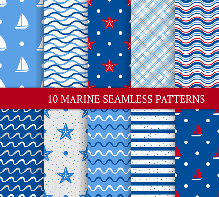 sea star: Ten marine different seamless patterns. Vector illustration for nautical design. Endless texture can be used for fills, web, surface. Set of sea  backdrop with wave, yacht, sea star and etc. Illustration