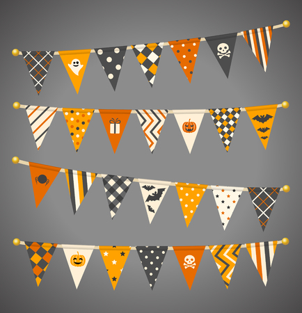 Vector triangle bunting flags. Halloween garland collection. Stock Illustratie